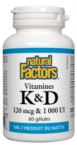 Natural Factors Vitamines K & D  60 gélules