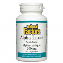 Natural Factors Acide alpha-lipoïque 200mg  60 capsules